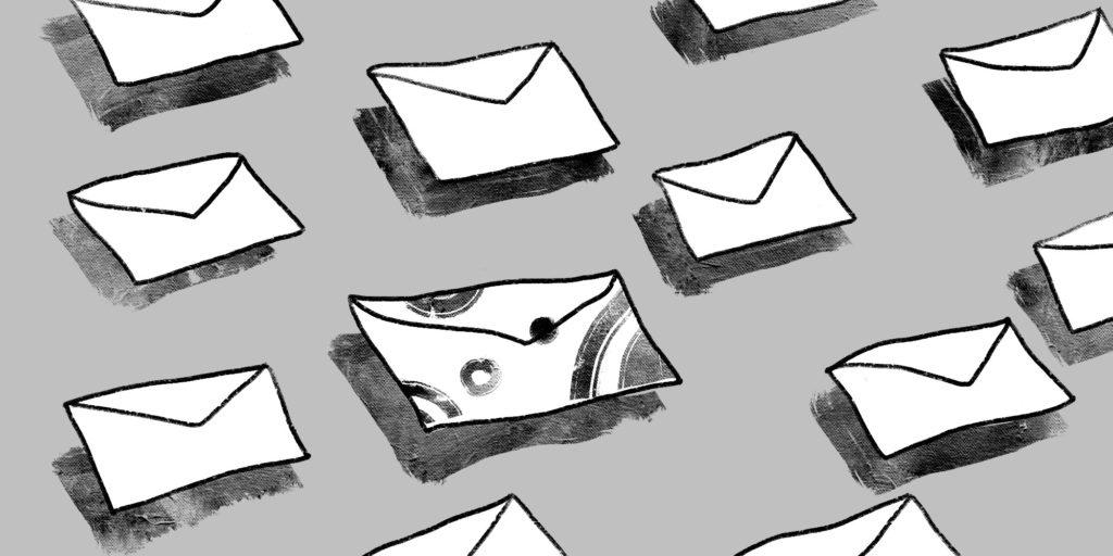many illustrated envelopes floating over a grey background