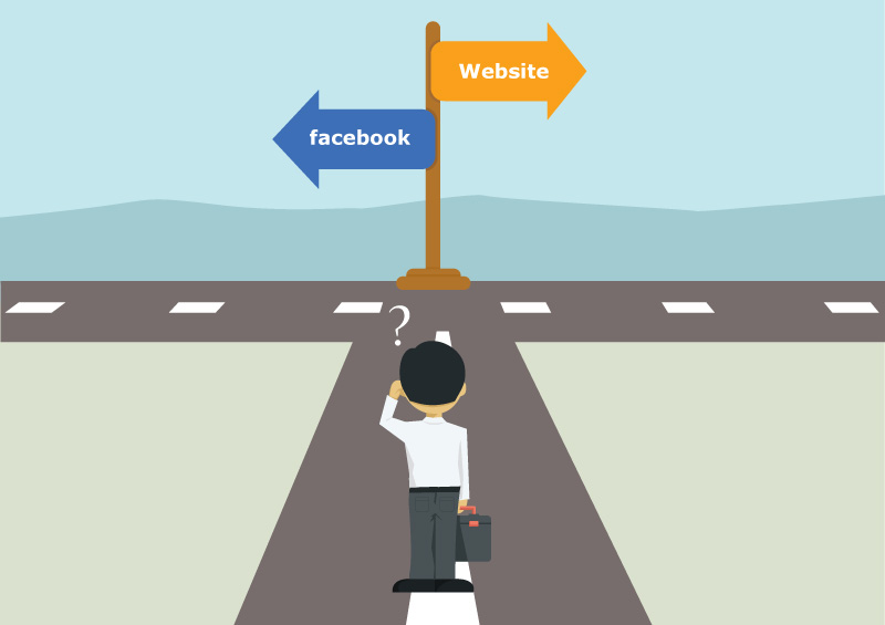 A facebook page is not an alternative to a website main image; arrows pointing to different directions at the end of a road, man scratching his head