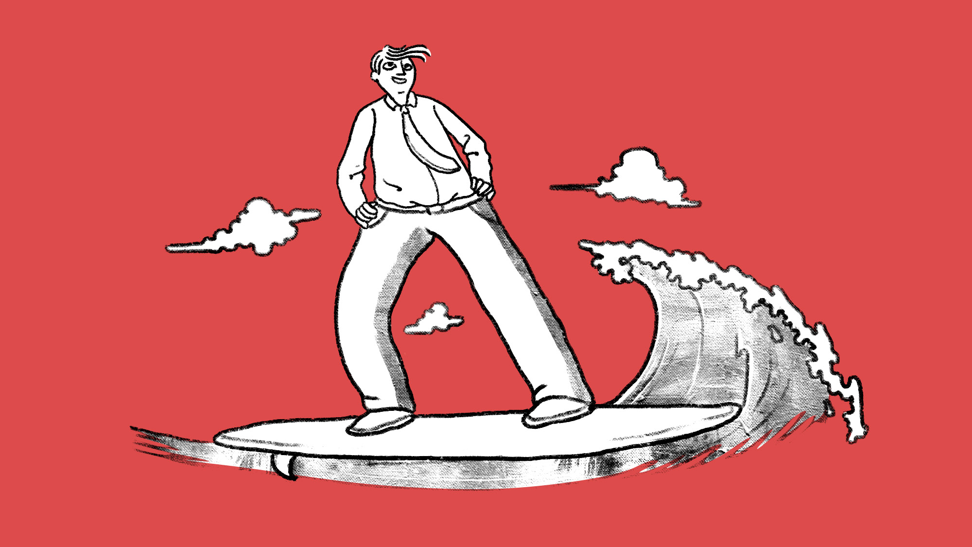 Illustrated man on a surfboard in a shirt and tie on a red background