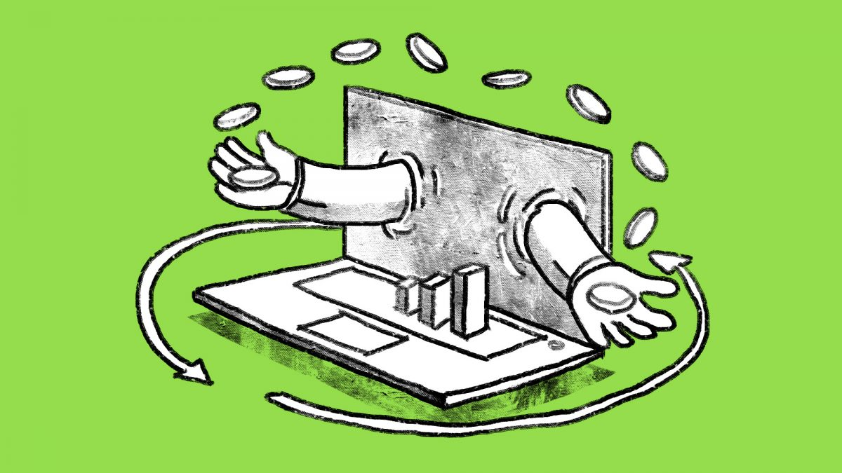 Illustrated custom blog image with hands coming out of a computer, juggling coins