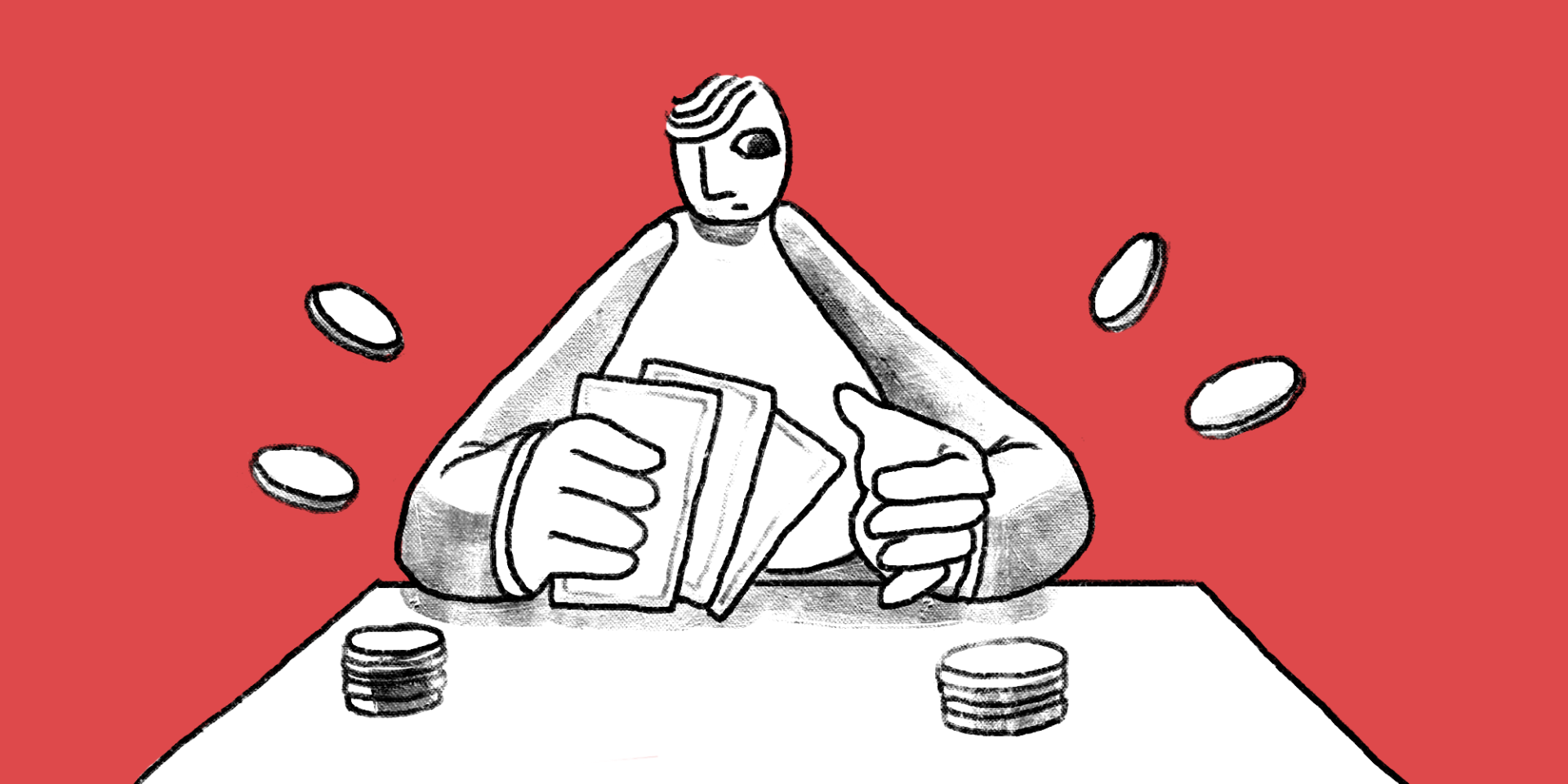 man sitting at table with hand of cards B2B content marketing main image