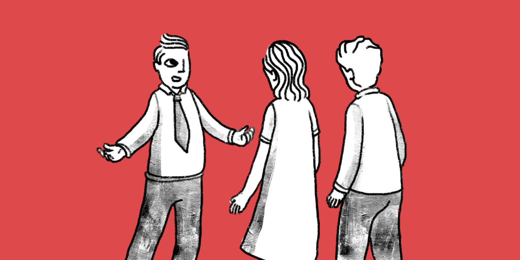 Illustration of a man with his arms open, explaining something to a male and female facing him; red background.