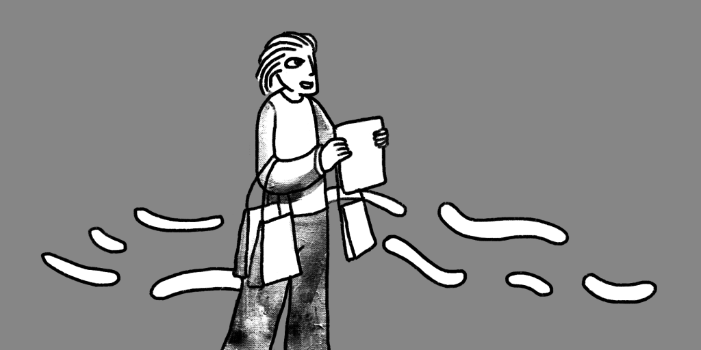 Illustration of a walking walking right with a paper held up in both hands, bags on her arms and wind blowing past her; medium gray background.