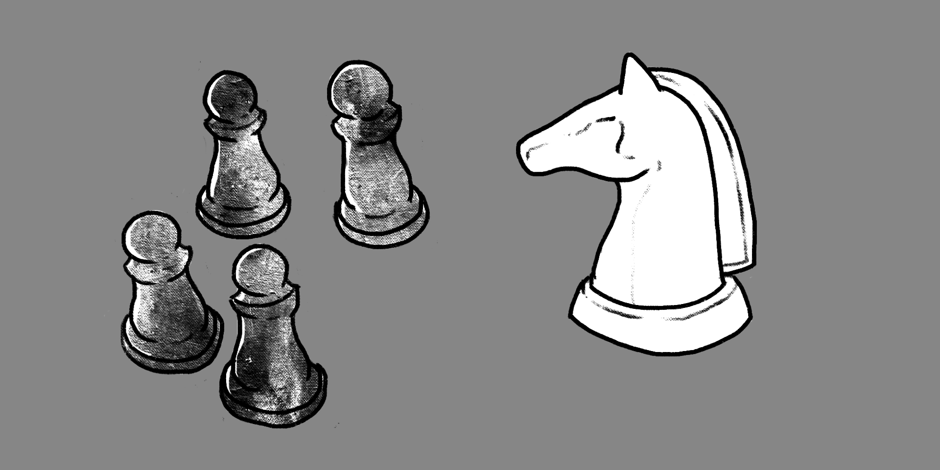 illustration of four black pawns and one white horse chess pieces