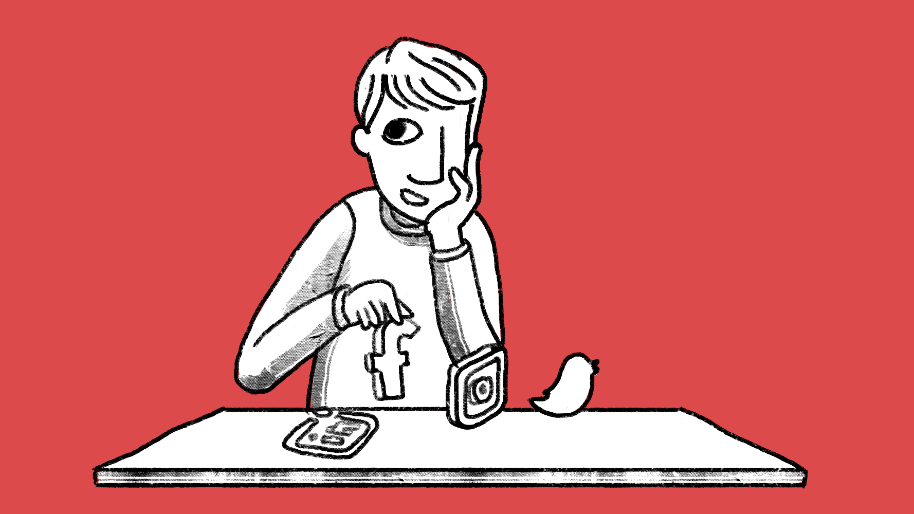 Illustration of a man sitting at a table and holding a social media logo.