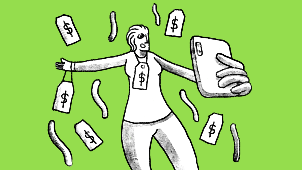 Illustration of a woman holding a smartphone surrounded by dollar signs.