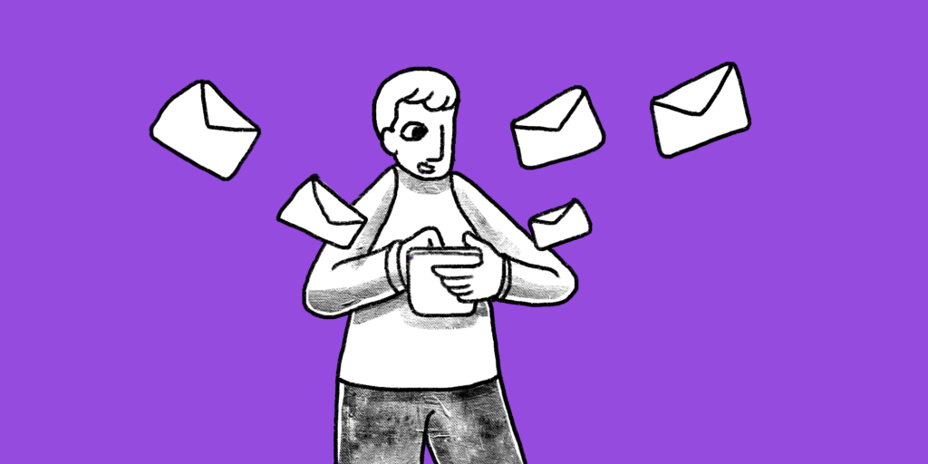 Man surrounded by flying mail opens an envelope custom illustration: btb content marketing email image