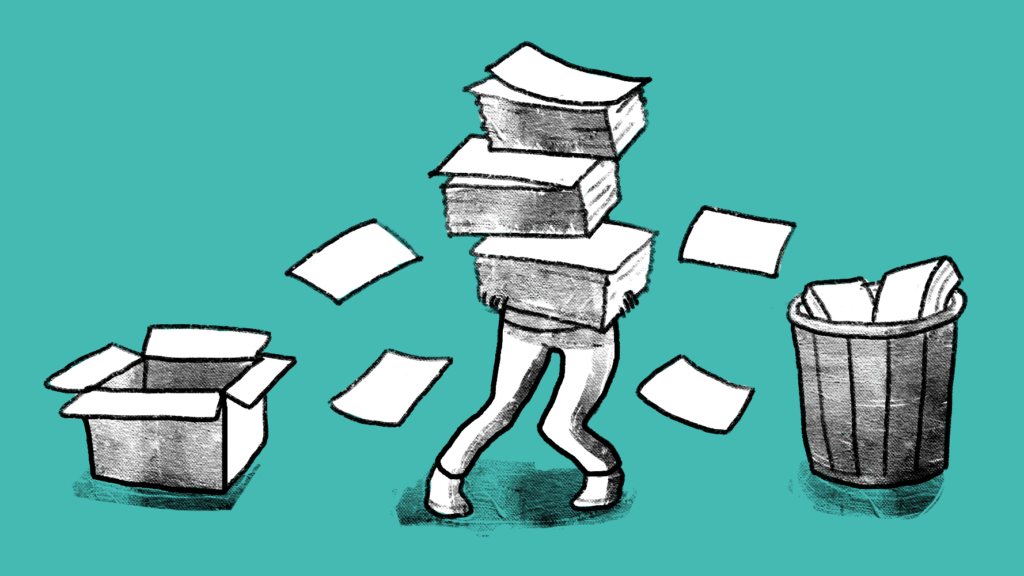 Illustration of a man standing between a box and trash can while holding many documents.