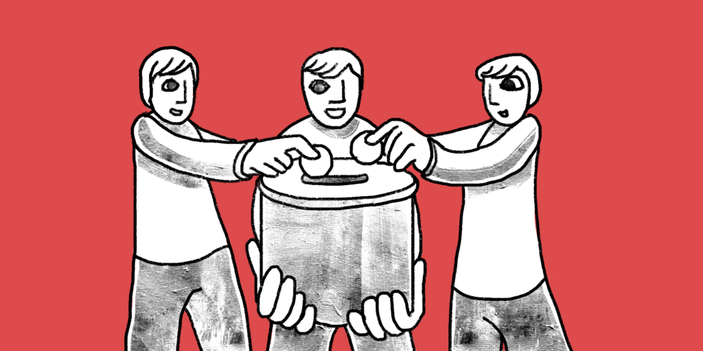 One man holds a communal receptacle while two others at either side smile and drop coins in; custom b2b content marketing illustration