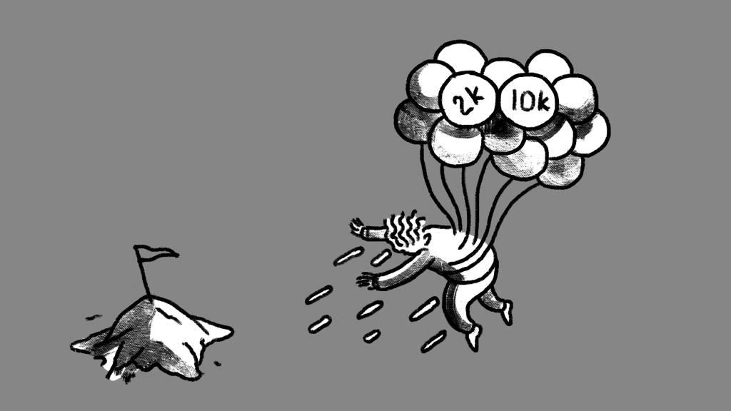 Illustration of a man being carried away from his goal by balloons.
