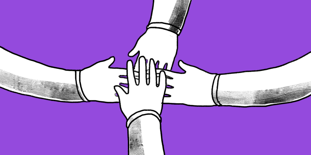 Four arms reach into the center of the image and layer their hands in harmony; custom illustration