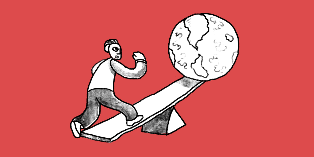 Man takes step onto low end of a see-saw, lifting the world up on the other side custom image with red background; b2b content strategy