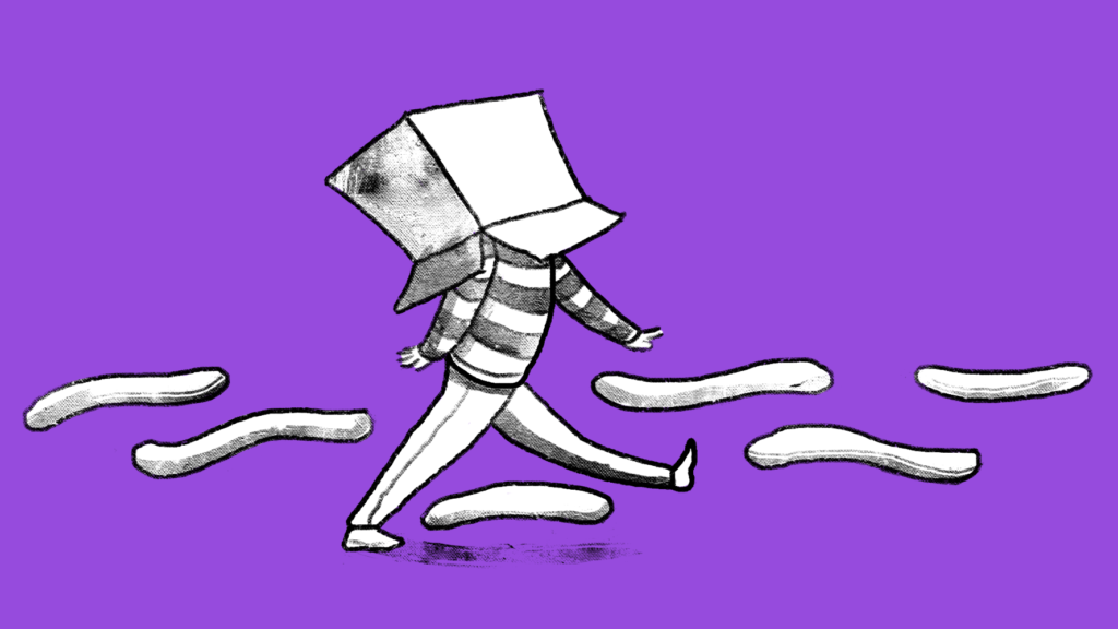 Illustration of a man wearing a box on his head while ignoring everything around him.