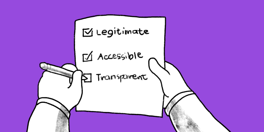 A pair of hands mark a checklist with legitimate, accessible, transparent on it; custom b2b content agency illustration