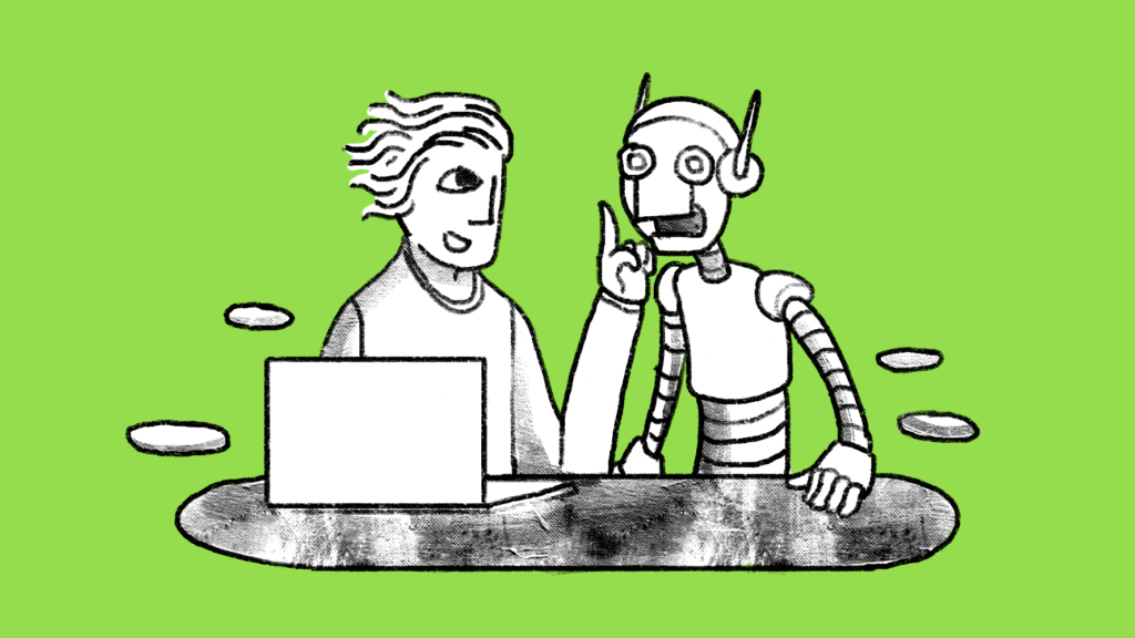Illustration of a man telling a robot to be quiet while sitting in front of a laptop.