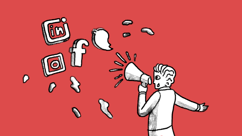 Illustration of a man shouting messages through a megaphone at several social media channels.