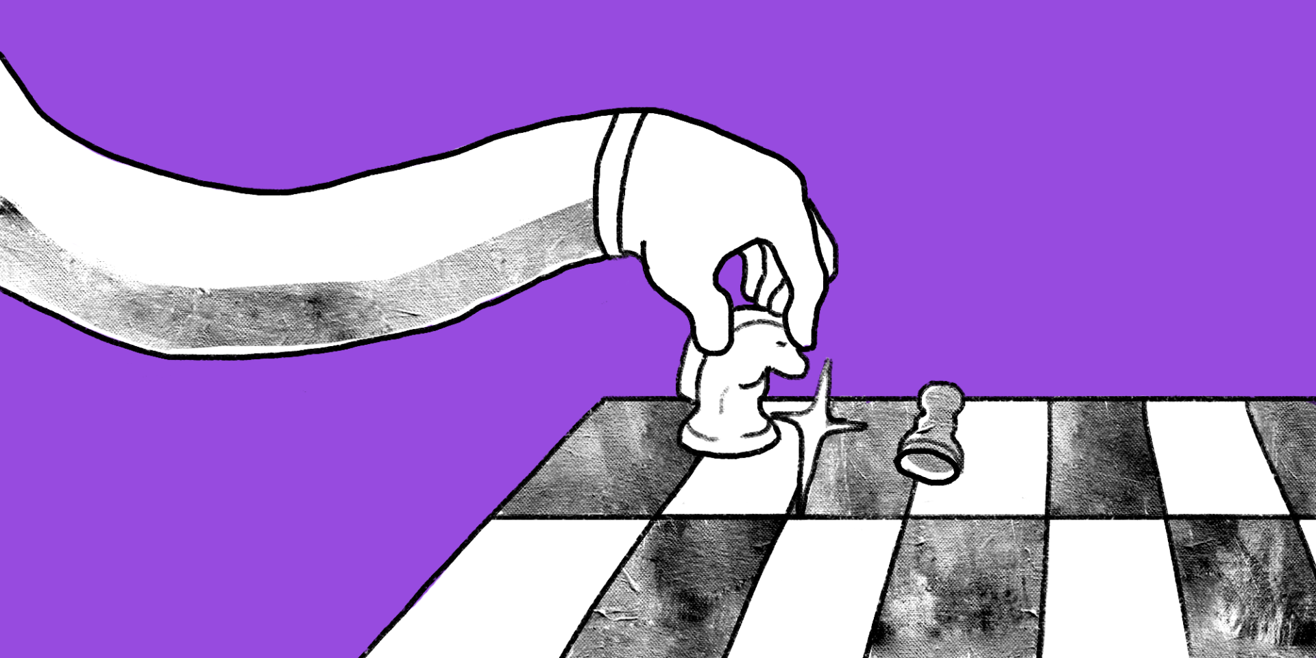 Arm reaches in from left side and hand moves knight on chess board custom illustration