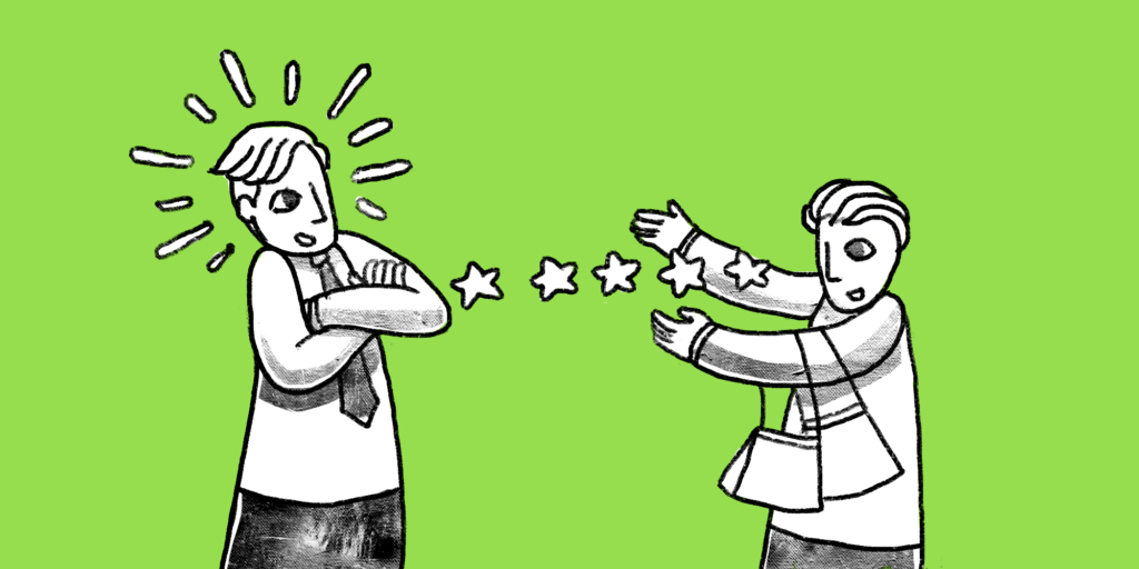 Man on left glows with arms crossed while person on right casts stars between them custom illustration lime green background; b2b content strategy