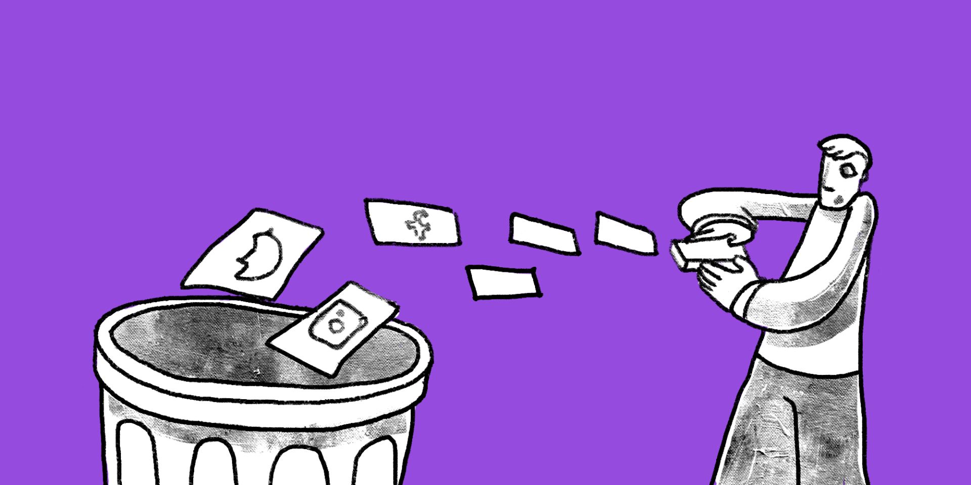 Man shuffles social media cards into trash can custom illustration; a social media mistake your business might be making