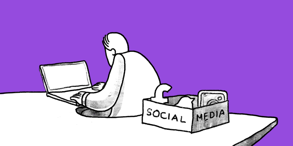 Person sits at a desk facing away from a box full of social media symbols behind them custom illustration