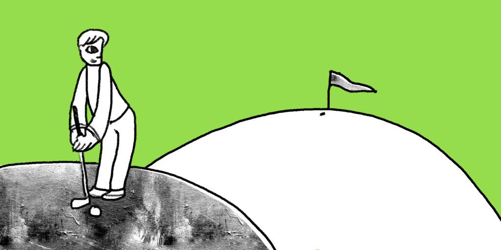 Man squares up a golf ball and aims for the hole on the next hill custom illustration; a social media mistake your business might be making