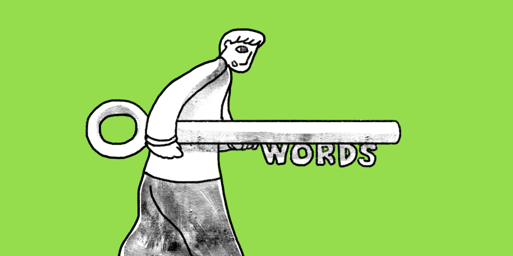 """Man carrying large key with """"words"""" as key teeth, SEO best practices"""