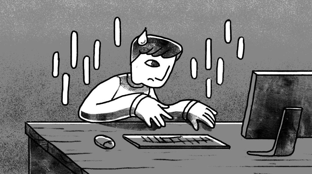 Man with sad face sits at computer as long raindrops fall around him custom illustration