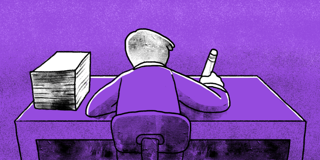 Man sits at desk facing away from viewer writing intently purple background custom illustration; copywriting tips for killer content