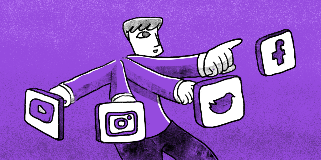 Man with four arms is pointing at major social media icons, purple background