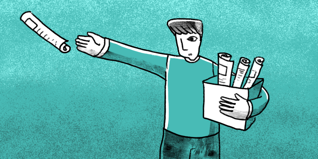 Illustration Man tosses a newspaper as he holds a box of newspapers in his other arm