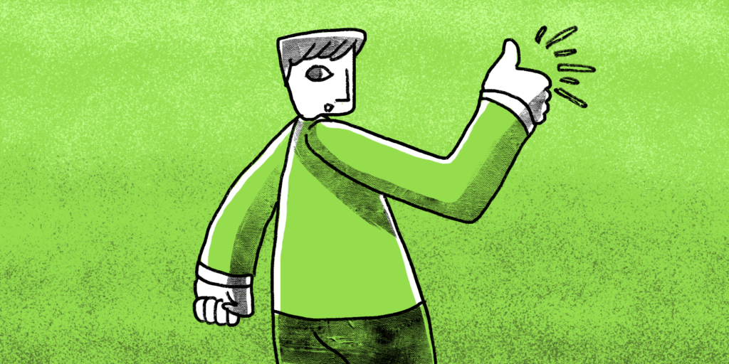Illustration of man giving a thumbs up.