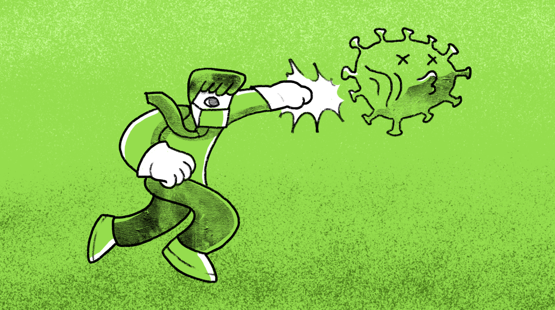 Pen and ink man on green background punching a virus