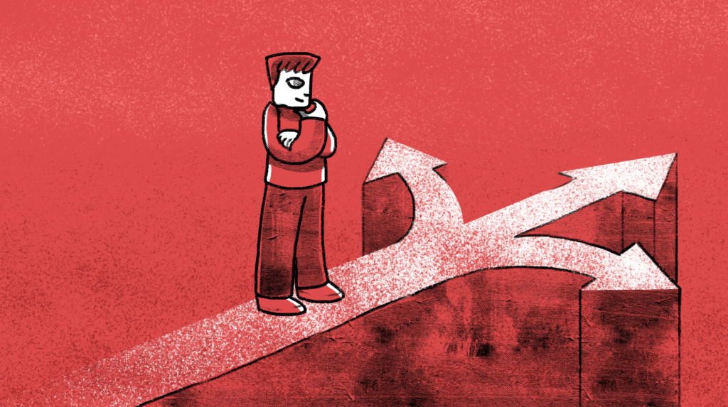 Pen and ink man at a crossroad on a red background, making a decision