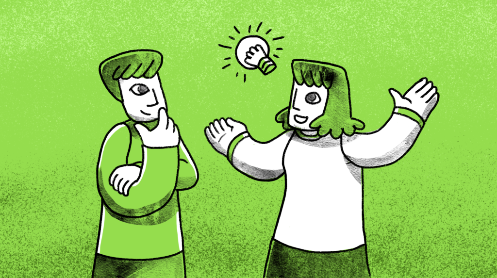 Two people in pen and ink on a background with a lightbulb between them to signify sharing an idea
