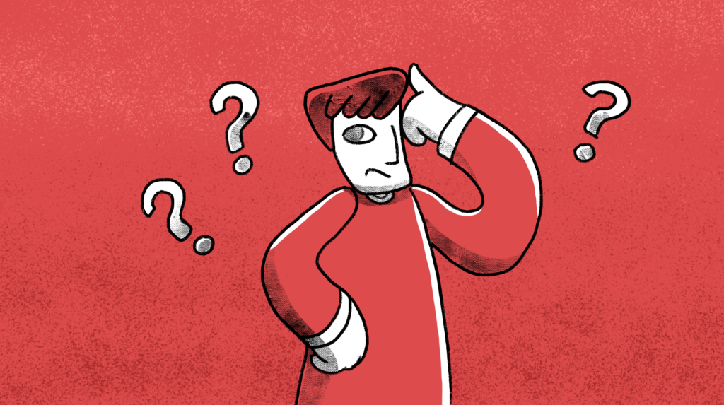 Pen and ink man with a finger to their head, as if thinking, surrounded by three question marks on a red background