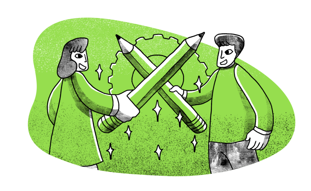 Illustration of two people jousting with big oversized pencils
