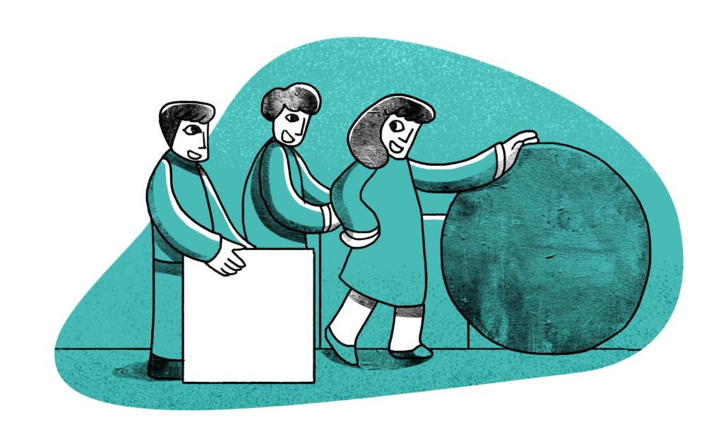 Illustration of three people moving shapes to represent efficiency