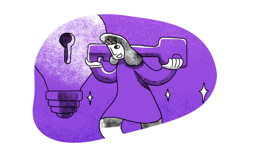 illustration of woman with a giant key going into a lock in a lightbulb