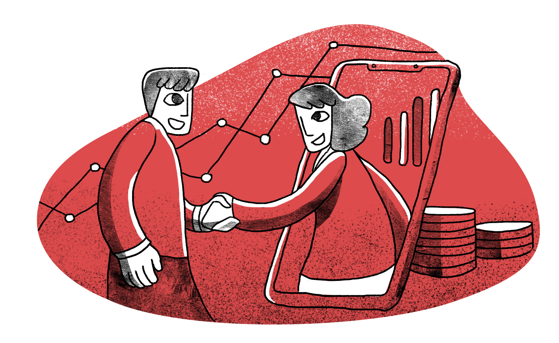 Main illustration of two people shaking hands, with one coming through a smartphone